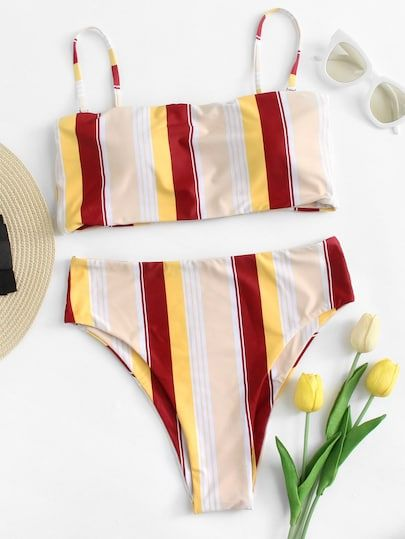 Striped Adjustable Straps Bikini Set