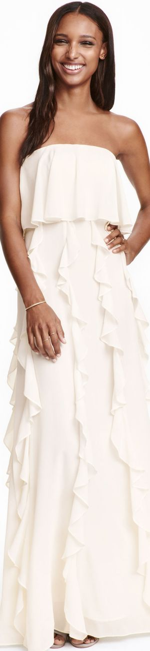 H&M Chiffon Bandeau in Natural White