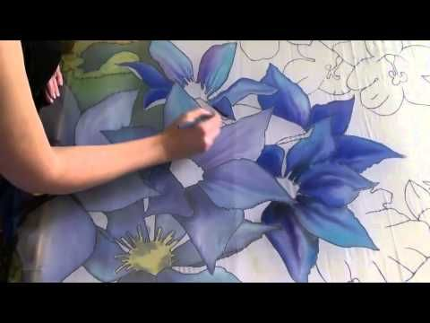 beautiful silk painting demonstration