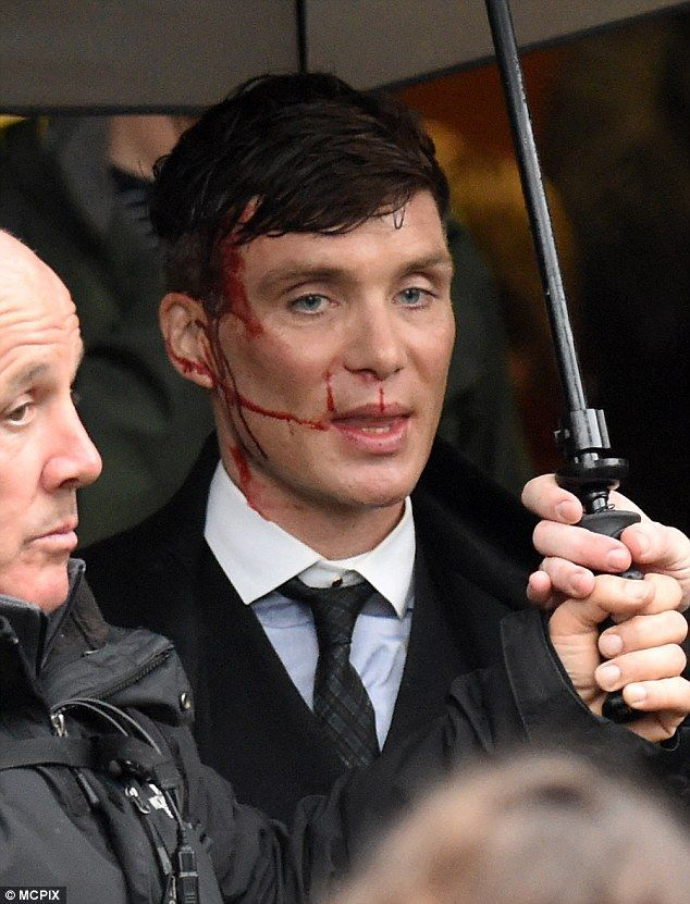 Blood, sweat and tears: Cillian Murphy was seen sporting an impressive 'injury' on the set of Peaky Blinders