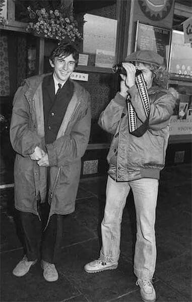 Phil Daniels and Roger Daltrey on the set of Quadrophenia. Photo by Adrian Boot.
