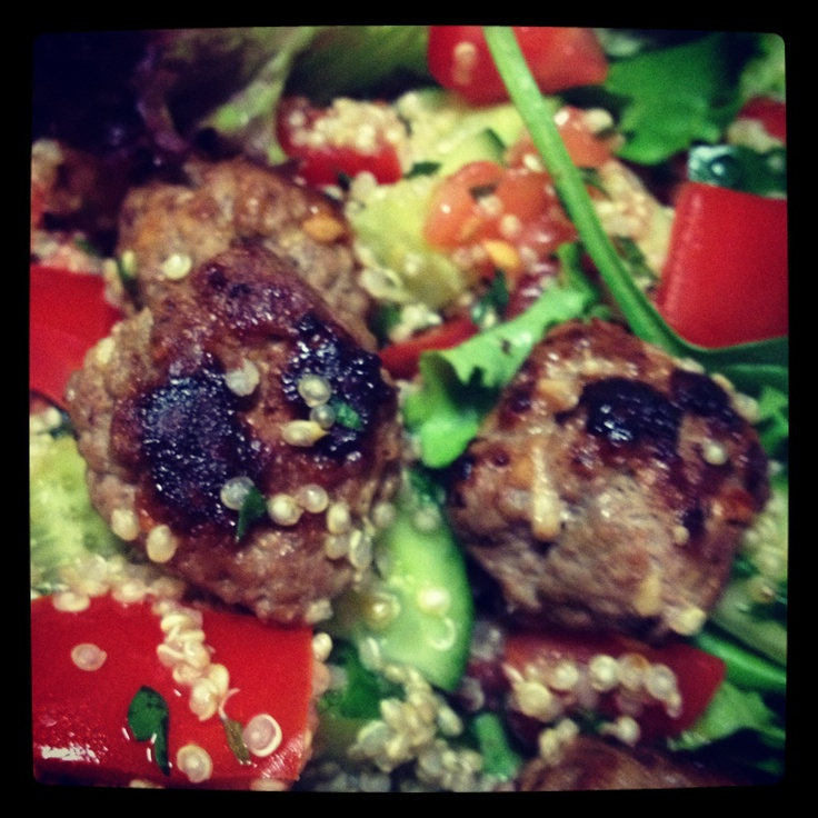 Spiced lamb meatballs with salad and Tabouli - yummy 12WBT meal from Michelle Bridges