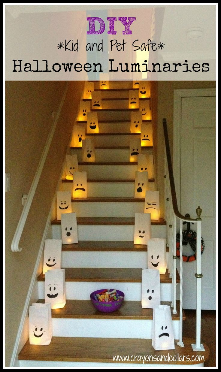 Easy DIY Halloween luminaries from www.crayonsandcollars.com