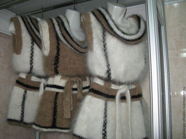 Купить Жилет пуховый с поясом - белый, козий пух, жилетка, жилет вязаный, Жилет женский