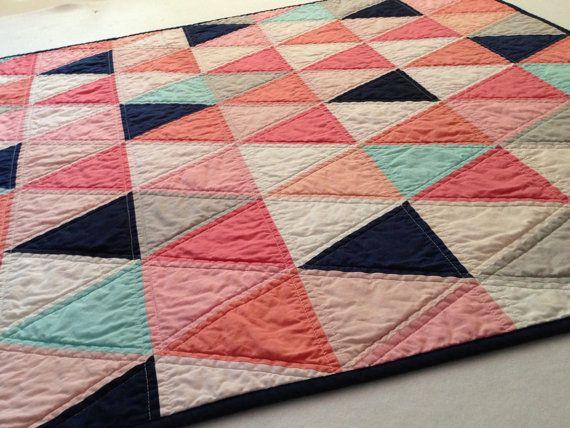 Jennys Custom Triangle Baby Quilt in Corals, Navy, Aqua and Gray via Etsy