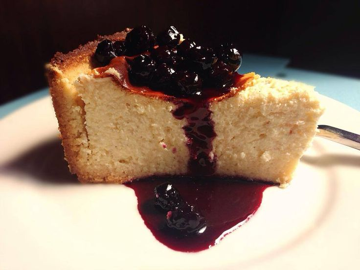 Italian Ricotta Cheesecake with Blueberry Sauce by Fitness Foodie - Sweeter Life Club