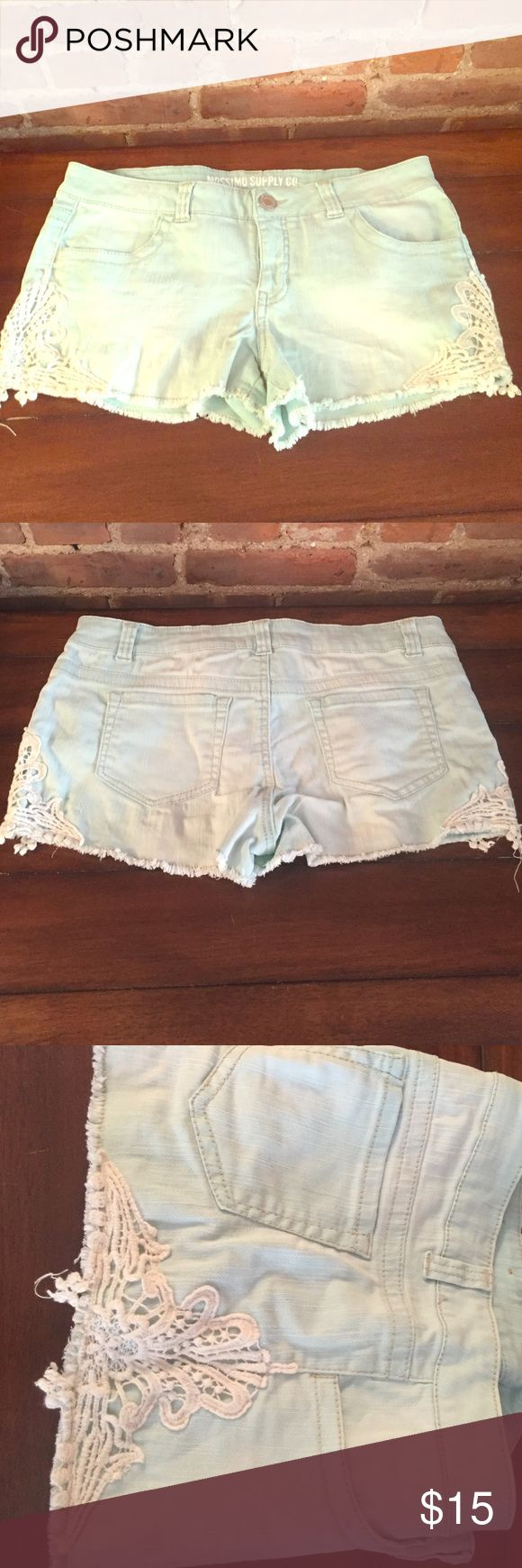 Mossimo Aqua Jean Shorts with Lace Detail These light aqua colored shorts have washing/distressing and super cute lacey detailing on the sides Mossimo Supply Co. Shorts Jean Shorts