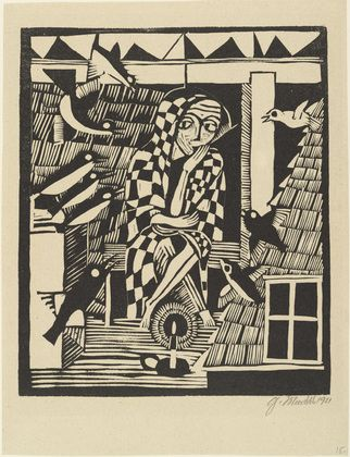 One of Gerhard Marcks' first Bauhaus portfolio including the cats both are woodcuts  Source : WikipediaArt, Gerhard Marck