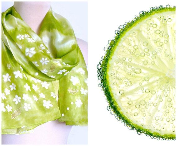 Lime silk scarf with little white flowers, and green leaves. Very romantic scarf! Hand painted!    Colors: lime green, pistachios.    Scarf is 100%