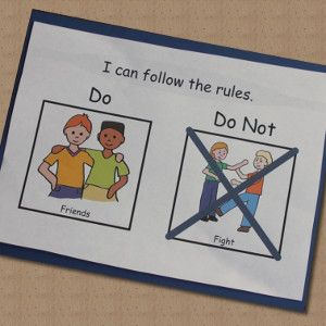 "Great for Rules and Social Stories: ""Do and Do Not"" cards. Free samples of some basic classroom rules- LessonPix"