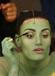 Idina Menzel preparing for her role as Elphaba in Wicked.