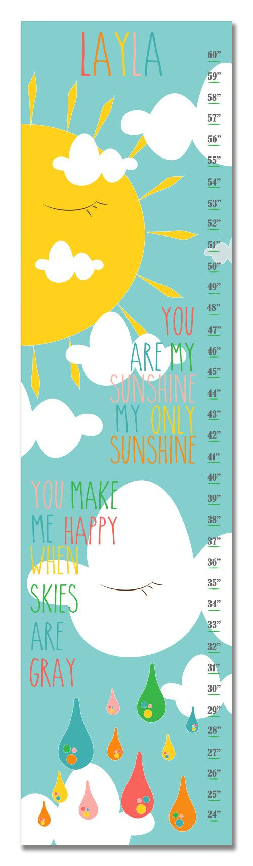 11 best growth chart decals images on pinterest wall decal personalized you are my sunshine sun and clouds pink growth chart this chart is made to nvjuhfo Gallery