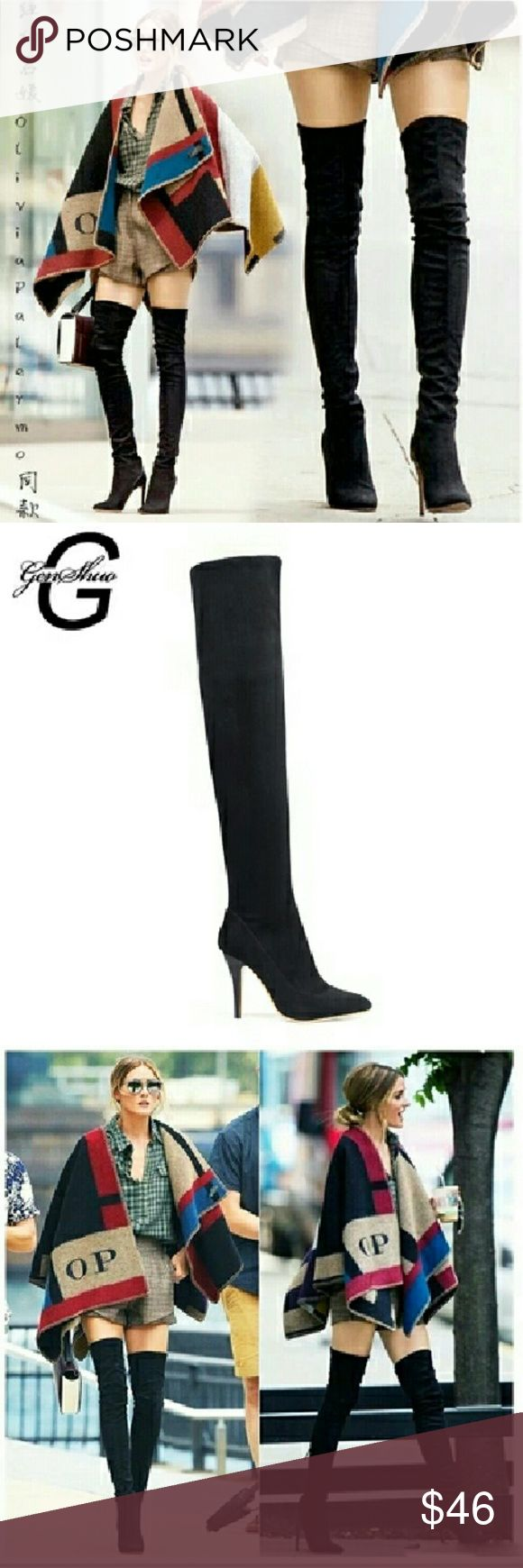 Suede Stilleto GENSHUO Woman Black Suede Over The Knee Boots Winter Warm Boots Women Sexy Stiletto Slim Fit Stretch Booties Botas Mujer Shoes Over the Knee Boots