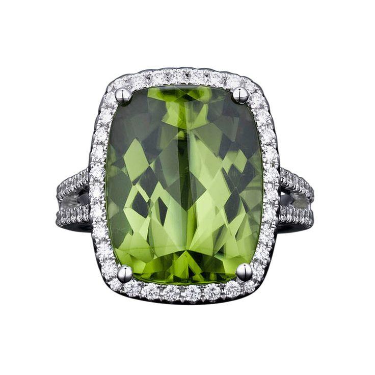 Peridot & Diamond Ring----my birthstone.