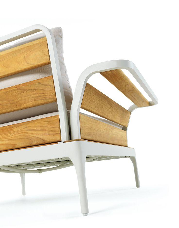 Polyrattan Gartenmobel Tisch Und Stuhle :  und großer Sessel Der Rahmen besteht aus Aluminium und Teak Holz