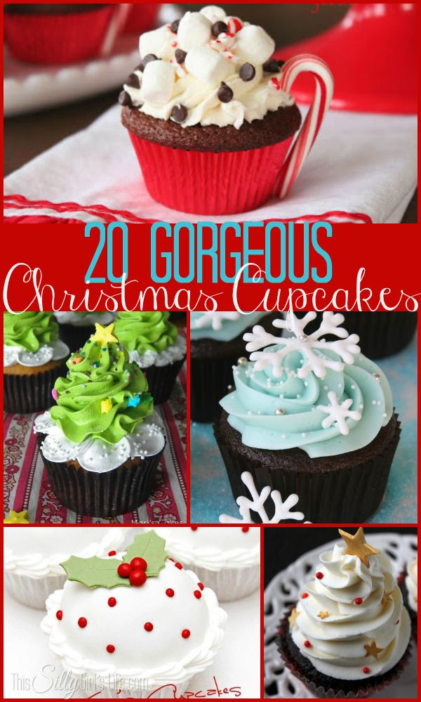 20 Gorgeous Christmas Cupcakes, a collection of inspiring cupcakes for your holiday spread! #ChristmasCupcakes - ThisSillyGirlsLife.com