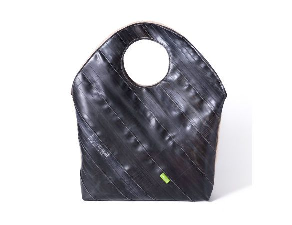 purse made from recycled bicycle tire inner tubes