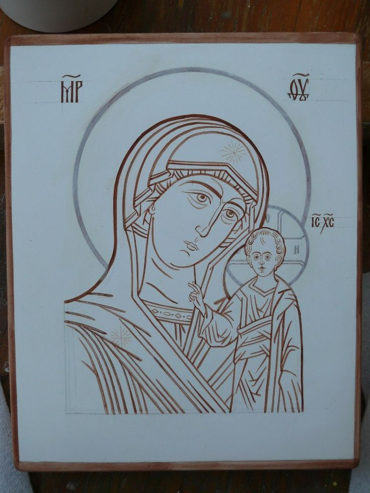 The tracing of the icons (the icon-painting studio, SVETLYE LIKI, Ukraina, Kiev)