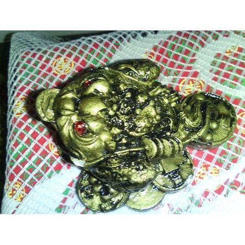 TŘÍNOHÁ ŽÁBA Číňané věří, že nás žáby chrání před veškerým nebezpečím a neštěstím, jenž by nám mohlo hrozit. Obzvlášť příznivá je třínohá žába. V tlamičce drží minci jako by nám přinášela zlato. Tato malá třínohá žába ve zlatém provedení navíc sedí na mincích čímž je její energie ještě posílena.