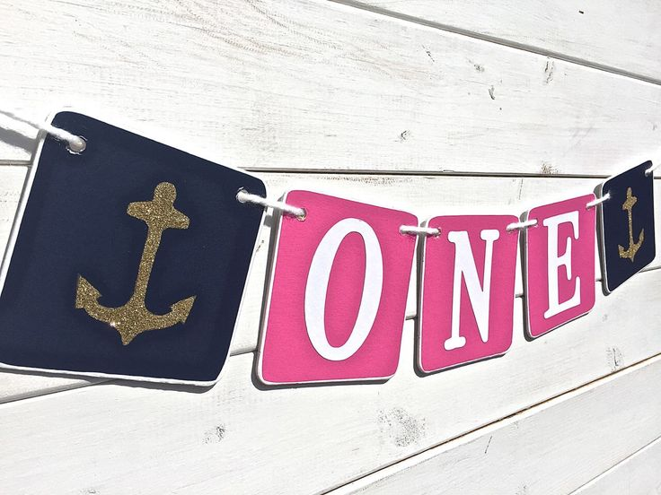 ONE Birthday Banner, Baby GIrl Birthday, first birthday, pink and navy, Nautical banner, Birthday Boy, First Birthday Party, anchors by RedBirdBanners on Etsy https://www.etsy.com/listing/227497064/one-birthday-banner-baby-girl-birthday