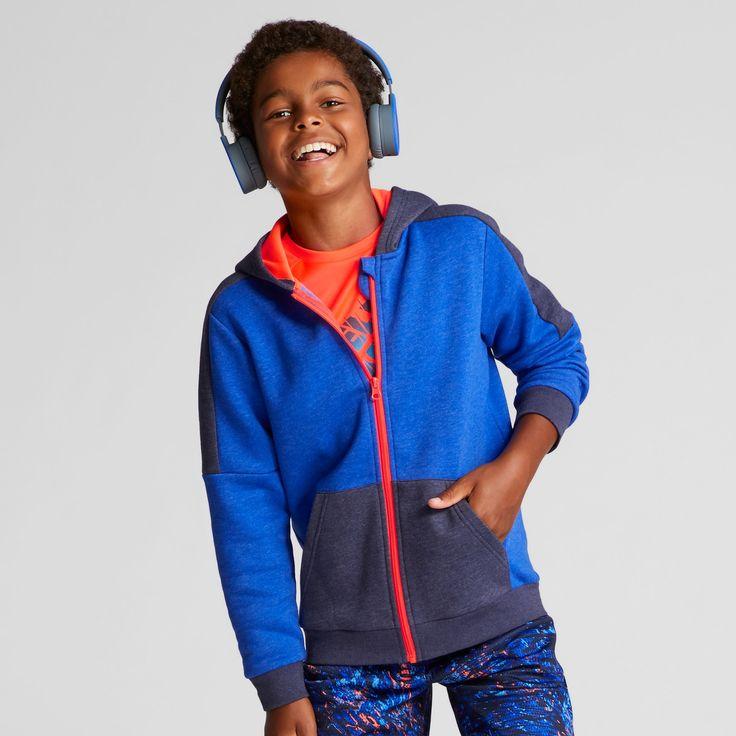Boys' Cotton Fleece Full Zip Hoodie - C9 Champion Flight Blue Heather M