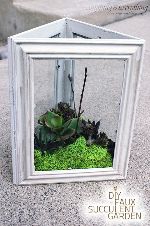 DIY Faux Succulent Terrarium using Dollar Tree frames!
