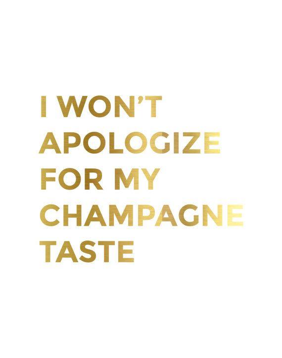Gold Foil Champagne Taste Print by CityComfortsDC on Etsy