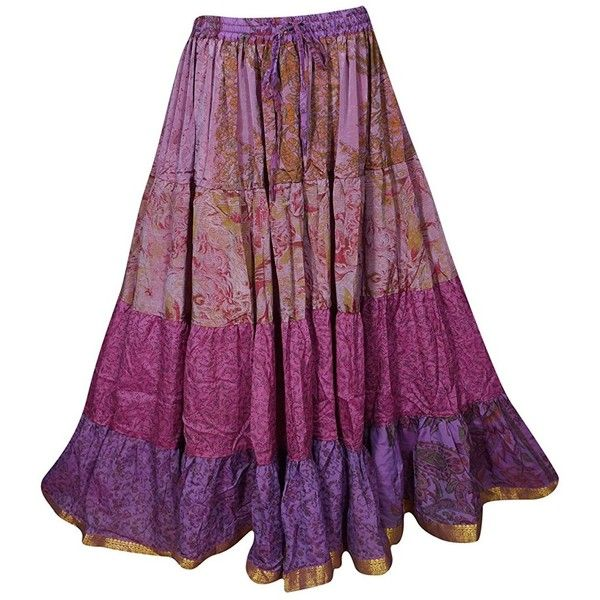 Mogul Womens Tiered Skirt Vintage Sari Full Flare Belly Dance Maxi... ($37) ❤ liked on Polyvore featuring skirts, long skirts, vintage long skirts, long purple skirt, purple maxi skirt and vintage skirts