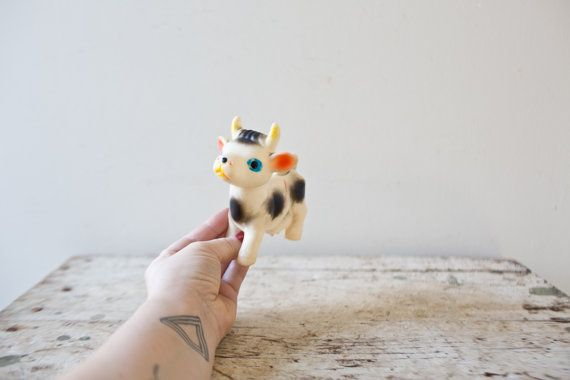 Vintage Plastic Cow Toy Farm Animal Squeeze Toy Squeaker Toy