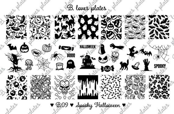 PREORDER! B. Loves Plates - B.09 - spooky Halloween ♥  Plate size: 9,5cm x 14,5cm Number of patterns: 40 Pattern size: 1,6cm / 1,7cm x 2,0cm / 2,1cm  !!! PREORDER !!! Shipping of this item will be on 17.10.! ♥