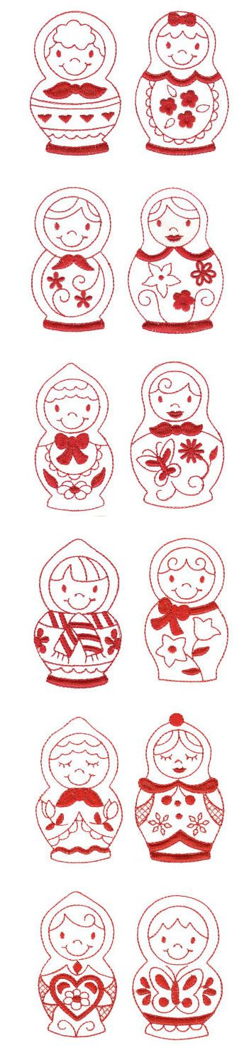 Embroidery | Machine Embroidery Designs | Russian Dolls Redwork