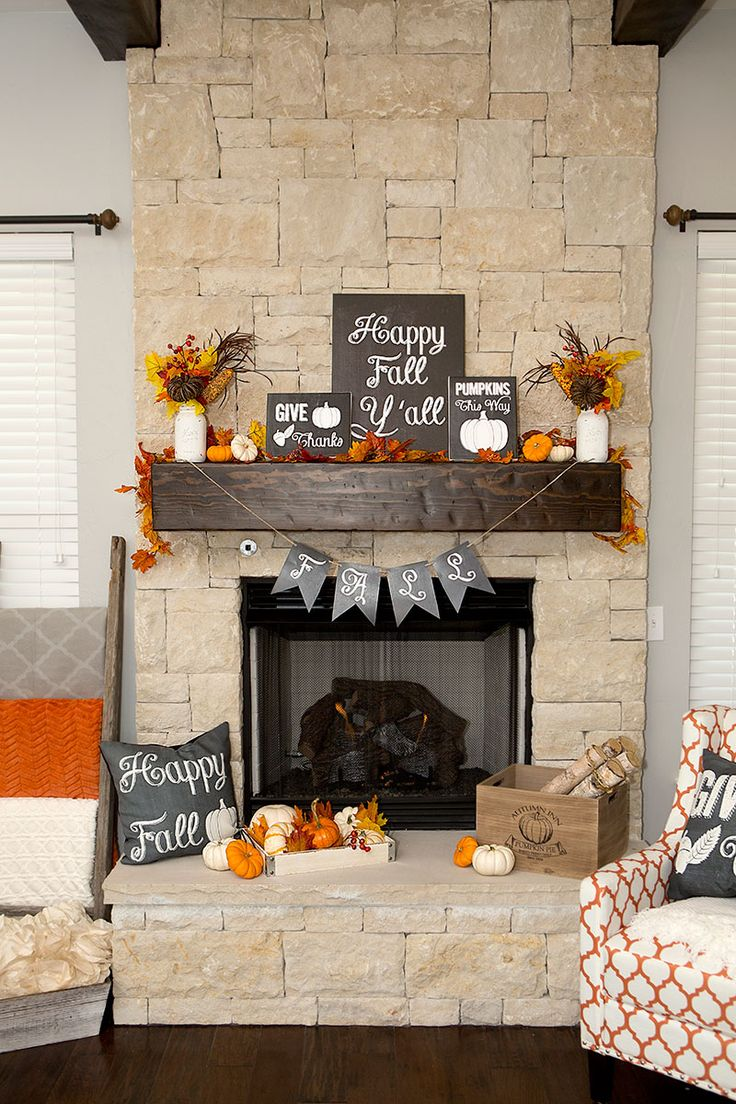 chalkboard touches and fall colors make this a perfect fall mantel - Decor For Mantels