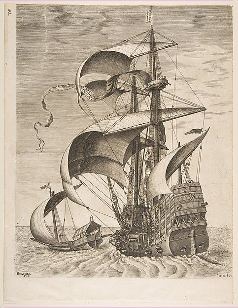 Armed Three-Master on the Open Sea Accompanied by a Galley from The Sailing Vessels                                                      After Pieter Bruegel the Elder                       (Netherlandish, Breda (?) ca. 1525–1569 Brussels)                                                                                             Artist:                     Frans Huys (Netherlandish, 1522–1562)                                          Publisher:                     Hieronymus Cock ...