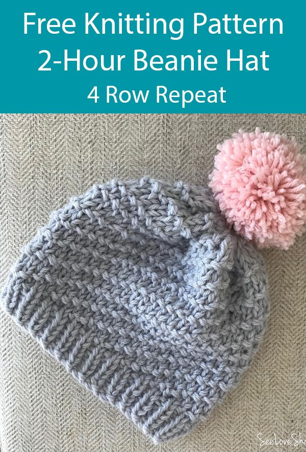 Free Knitting Pattern For 2 Hour Beanie Hat With A 4 Row Repeat Knit Beanie Pattern Baby Hat Knitting Patterns Free Beanie Knitting Patterns Free