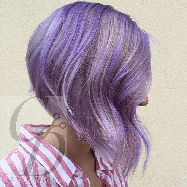 Pastel Purple Inverted Bob Haircut