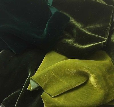 This is our luscious silk/rayon velvet fabric. This greens sample set includes one 6 inch by 45 inch piece of each color: olive, green gold, yellow green, and dark green. Please feel free to reach out