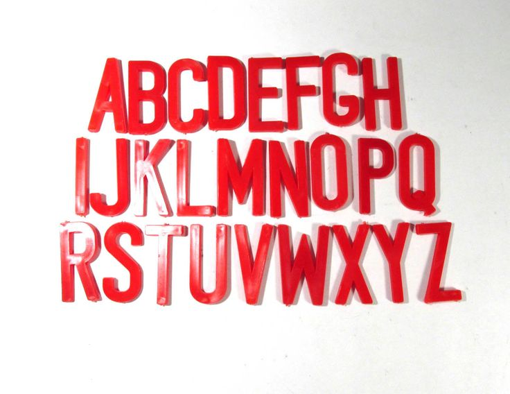 """Vintage Plastic Letters 2"""" YOUR CHOICE Caps Red Plastic Letters Display Signage Alphabet A-Z Assemblage Mosaic Mixed Media Supplies (F223) by punksrus on Etsy"""