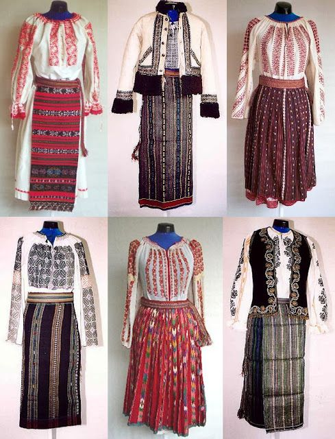 different traditional costumes from Romania