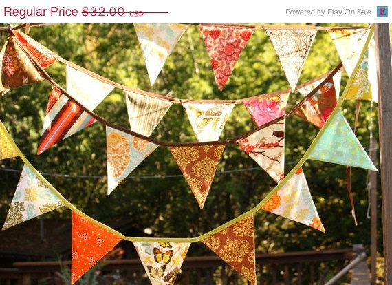 25OFF Harvest Bunting Fabric Flag Banner Fall by StarlitNestGifts