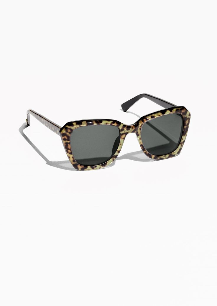 & Other Stories Square Leopard Sunglasses in Leopard