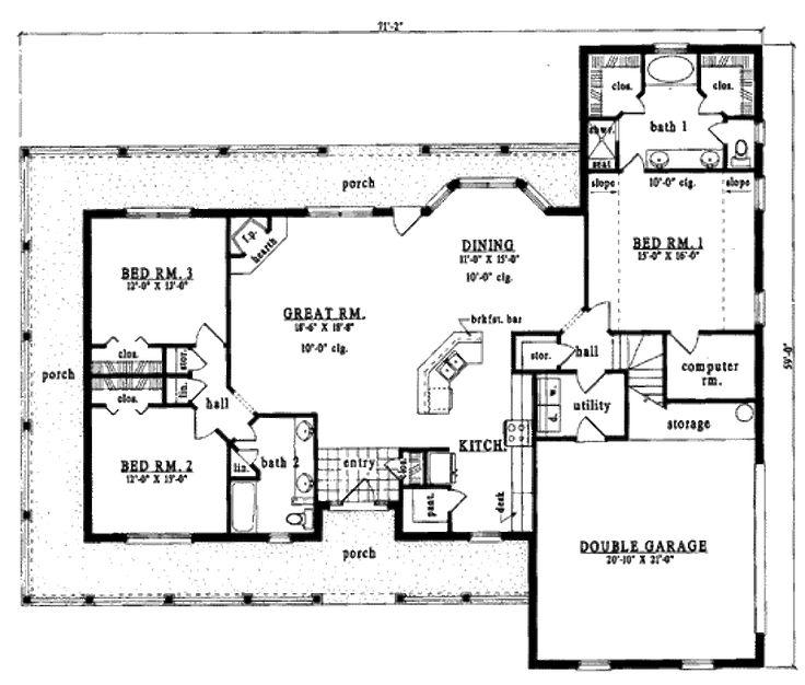 Country Style House Plan - 3 Beds 2 Baths 2075 Sq/Ft Plan #42-178 Floor Plan - Main Floor Plan - Houseplans.com
