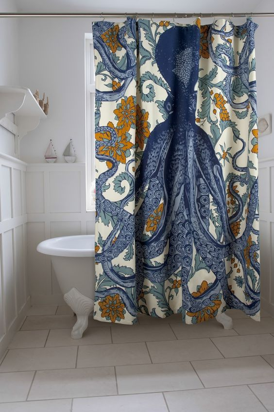 Blue octopus shower curtain adds great style to the bathroom decor.  Stylish, fun and unique.