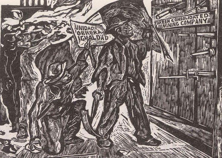 La huelga de Cananea, linóleo de Pablo O' Higgins. Imagen tomada del libro: Hugo Covantes, El grabado mexicano en el siglo XX, 1922-1981, México, edición del autor, 1982, s/p.