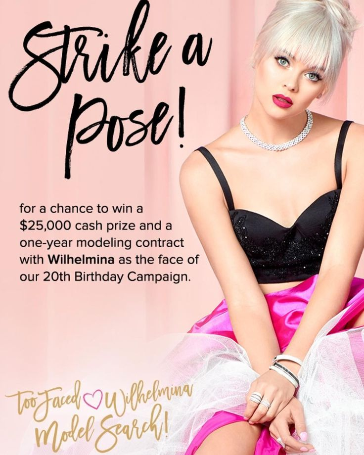 LISTEN UP! Come get glam with the Too Faced team this weekend starting TODAY June 23rd from 12PM–6PM CDT at @sephora (845 Michigan Avenue Chicago, IL 60611) to learn how to officially enter the Too Faced X Wilhelmina Model Search where one lucky winner will become the face of the Too Faced's 20th Birthday Campaign, receive a 1 year contract with @wilhelminamodels, and win 25,000 cash! We can't wait to see you! *US contest only; must be 18 years of age or older 💖ALSO TOMORROW June 24th💖…
