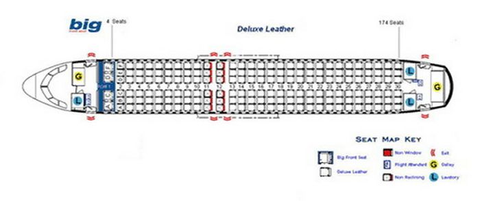 Spirit Airlines Airbus A320 Jet Aircraft Seating Layout