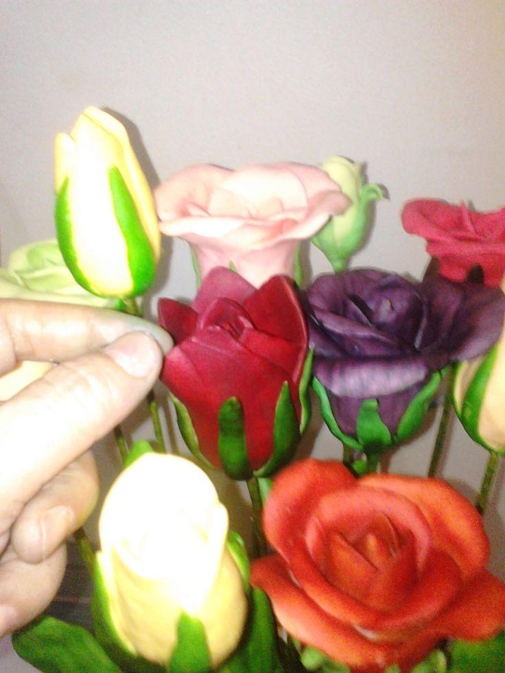 multy color soap flowers
