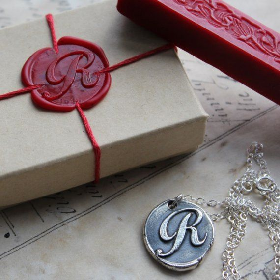 wax seal gift wrap jewellery used as seal imprint - brilliant!
