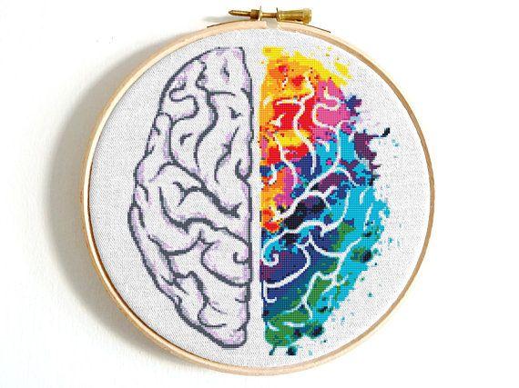 Brain cross stitch pattern Rainbow cross stitch Funny counted cross stitch Modern cross stitch Colorful cross stitch Easy cross stitch PDF