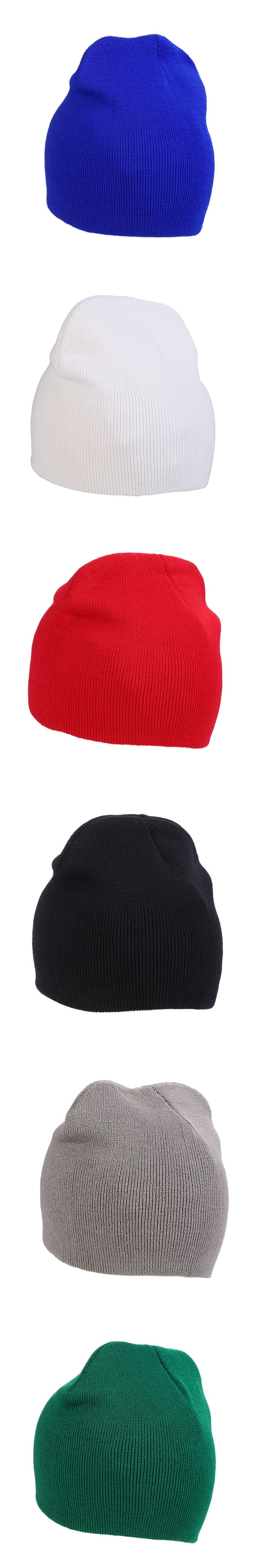 Outdoor Men Women Casual Solid Color Knitted Winter Warm Short Beanie Ski Hat