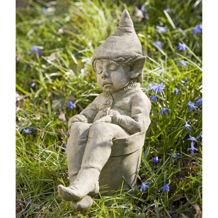 Campania International Joe The Elf Cast Stone Garden Statue Aged Limestone - S-306-AL